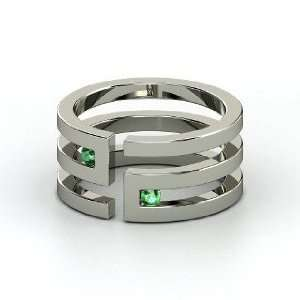 Labyrinth Ring, 14K White Gold Ring with Emerald Jewelry