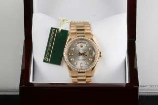Mens Rolex 18K Silver Diamond Dial President Watch