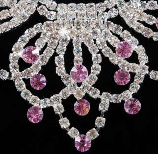 21950 PINK Leaf Intersect Bib Rhinestone Crystal Clear Necklace