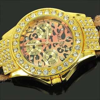 Golden Leopard Crystal Ladies Women Quartz Wrist Watch