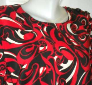 Maggy London sz 16 red black white print 100% silk dress 16 XL 1X