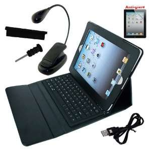 Leather Case with bluetooth keyboard + Booklight + Anti Dust Docking