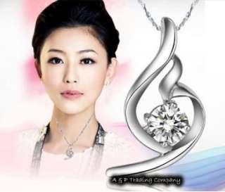 SP2388 Swarovski Crystal CZ Angels Wing Pendant Fashion Silver