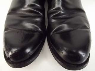 Mens cowboy boots black leather Lucchese Handmade 9 EE western roper
