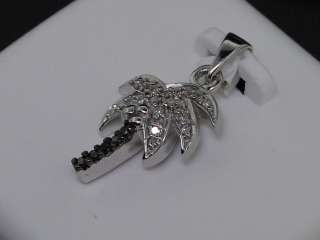 LADIES WHITE GOLD .12C DIAMOND PALM TREE CHARM PENDANT