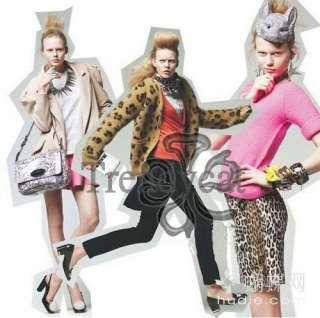 Vintage Fashion Leopard Print Angora Cardigan Knitwear Jumper