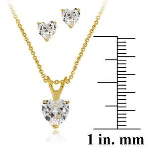 Diamond Necklace Stud Earring Jewelry Set 14k Yellow Gold Overlay