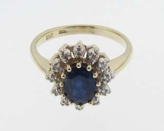 Estate Natural Blue Sapphire Genuine Diamonds Gold Ring