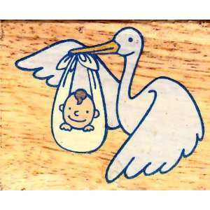 Stork and Baby Rubber Stamp Arts, Crafts & Sewing