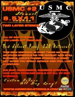 USMC 2 Military airbrush stencil template harley paint