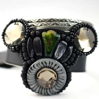 d6656 Wide Tibet Silver Style Gems Beads Button Bangle