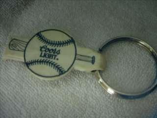 Coors Light Baseball Bottle Opener Key Chain Ring Pat #