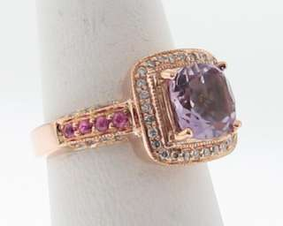 LeVian Estate Amethyst Pink Sapphires Diamonds 14k Rose Gold Ring Size