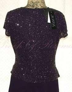 Kara Mock Two Piece Beaded V Neck Long Chiffon Gown Dress Purple