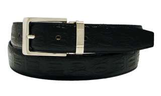 Mens Crocodile Embossed Leather Dress Belt 1 1/8 wide Black
