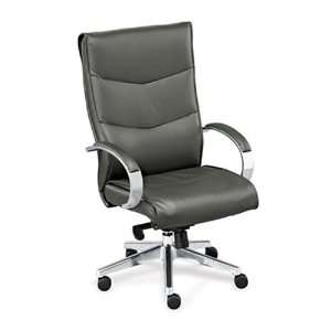 Chevron High Back Leather Executive Chair Black Leather
