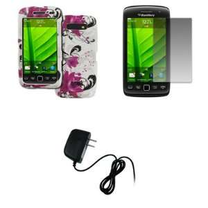 EMPIRE BlackBerry Torch 9850 9860 White with Purple Flowers Design