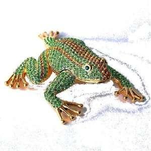 Jumping Frog Green Box Swarovski Crystals 24K Gold
