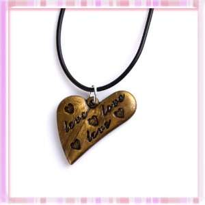 Retro Style Heart Bronze Letter Pattern Acrylic Pendant
