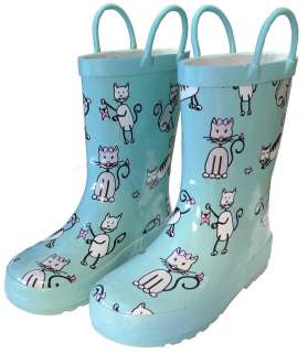 Girls Blue Kitten Kitty Cat Raincoat,Boot, Umbrella Set 2T 10