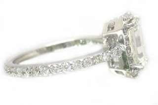 EMERALD CUT DIAMOND ENGAGEMENT RING 14K WHITE GOLD PRONG SET ART DECO