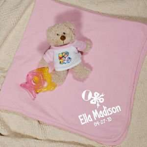 New Baby Girl Rale and Bow Personalized Pink Blanke