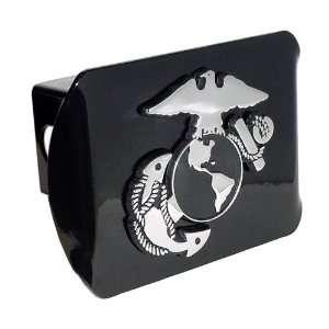 Marine Corps Black with Chrome USMC EGA Emblem Metal Trailer Hitch