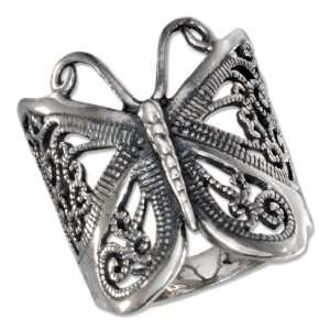 Sterling Silver Antiqued Butterfly Filigree Ring Jewelry