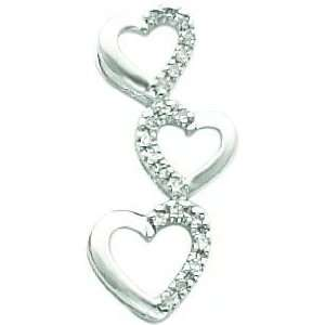 14K White Gold Diamond Triple Heart Pendant Jewelry