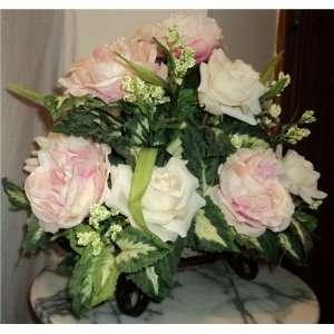 Cream Rose & Pink Peony Silk Floral Arrangement