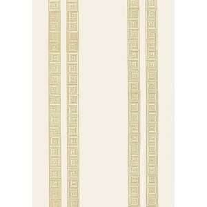 Greek Key Stripe Straw by F Schumacher Wallpaper