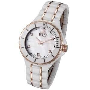 Womens Rose Gold Tone White Ceramic Watch