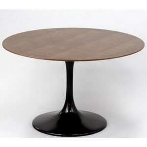 Eero Saarinen Style Tulip Dining Table Walnut top   Black Base Home