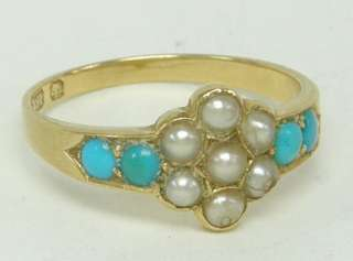 RARE ANTIQUE VICTORIAN 18 CARAT GOLD, TURQUOISE & SEED PEARL RING NO