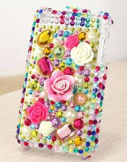 Rainbow 3D flower diamond bling full case cover shell fit apple iPhone