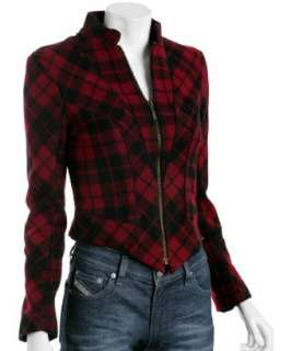 McQ By Alexander McQueen red plaid wool seam detail jacket