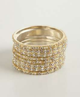 Chamak by Priya Kakkar set of 6  white and gold crystal bangles