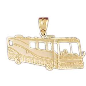 14kt Yellow Gold Rv Recreational Vehicle Pendant: Jewelry