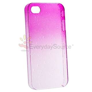 Raindrop Transitional Colors Hard Hot Pink Case Cover for iPhone 4 4S