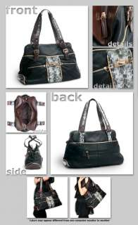 New Black Synthetic Snake Skin and Leather Hand Shoulder Bag Purse
