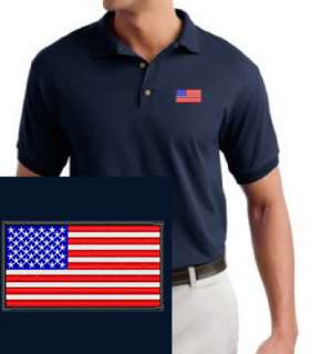 USA Flag EMBROIDERED Navy Blue Polo Shirt American Flag