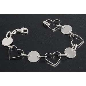 Sterling Silver Open Heart & Round Disc Link Italian Charms Bracelet