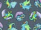 Merlins Dragons Fabric 1/2 yard Dragon On Castle wall 45441K