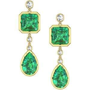Jewelry Gift 14K Yellow Gold Lab Crerated Emerald And Diamond Earrings