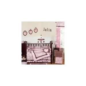 Pink and Brown Toile 9 Piece Crib Set   Baby Girls Bedding: Baby