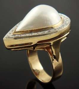 VINTAGE 14K GOLD PEAR DOMED WHITE MABE PEARL DIAMOND RING
