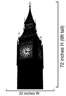 Vinyl Wall Decal Sticker Big Ben Clock Britain U.K. 6ft