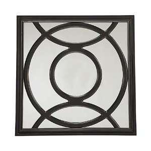 Dark Wood Square Mirror with Round Accent Design