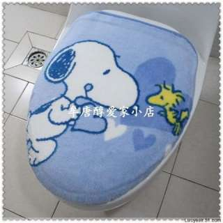 Peanuts Snoopy Bath Rug Mat Toilet Seat Cover 3pc Set 2