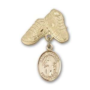 Badge with St. Brendan the Navigator Charm and Baby Boots Pin Jewelry